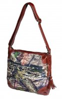 Women's Nylon Camo Crossbody Bag with Brown Faux Leather Accents