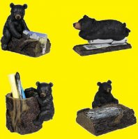 Black Bear Four Piece Desk Accessory Set