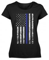 Womens Longer T-Shirt Thin Blue Line Flag