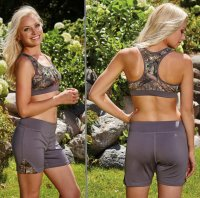 Womens Activewear Sports Bra Gunmetal Gray & Camo