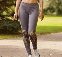 Womens Active Wear Tights Gunmetal Gray with Camo Accents 610350