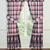 Browning Buckmark Pink & Gray Plaid Rod Pocket Drapes