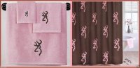 Browning Buckmark Towel Set & Shower Curtain Pink & Brown