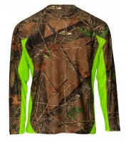 Mens Active Performance Long Sleeve T-Shirt Camo with Neon Green