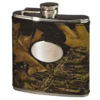 Weber's Camo Leather Wrapped Stainless Steel Hip Flask