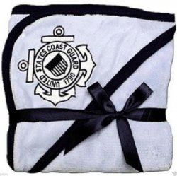 "Baby Blanket Blue with U.S. Coast Guard Logo 32"" x 27"""