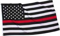 US American Flag Thin Red Line (Support Fire Fighters) Flag 3x5