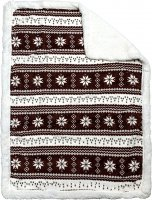 "Baby Blanket Nordic Pattern Brown & White 30"" X 42"""