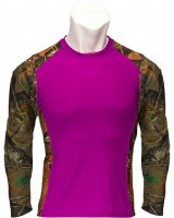 Women's Neon Purple and Camo 4-Way Stretch Long Sleeve Shirt