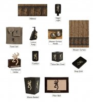 Browning Buckmark Oak Tree 25 Piece Bathroom Decor Set