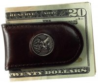 Premium Leather Men's Chocolate Brown Money Clip with Buck
