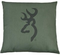 Browning Buckmark Dark Green Square Logo Pillow