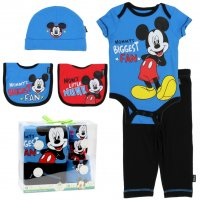 "Mickey Mouse ""Mommy's Biggest Fan"" Infant Outfit 5 Pc. Gift Set"