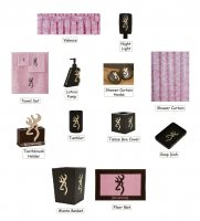 Browning Camo Pink Buckmark 25 Piece Bathroom Decor Set