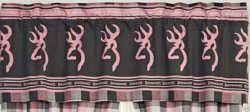 Browning Buckmark Pink & Gray Plaid Window Valance