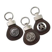 Weber's Premium Brown Leather Key Ring with Concho