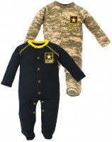 2 pk Acu US Army Baby Crawler Sleeper 1 Black 1 Camouflage