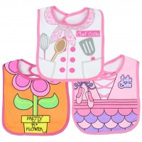 Little Beginnings 3-Pk Girls Dress Up Large Bibs