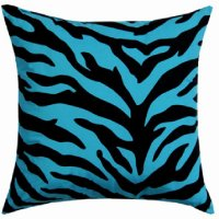 Black and Blue Zebra Stripe Square Accent Pillow