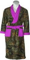 Womens Camo Fleece Robe with Neon Purple Accents