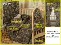Realtree Max 4 Camo 7 Piece Baby Crib & Window Treatment Set