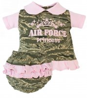 "USAF ABU Camo with Pink Accents Baby Dress ""Air Force Princess"""