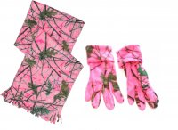 Women's Camo Scarf and Gloves Set Blazing Pink Forest