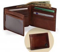 Caramel Brown Premium Leather Billfold Wallet with Buck Concho