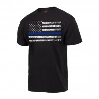 Adult Black Tee Shirt with Distress U.S. Flag and Thin Blue Line