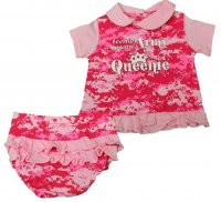 "Pink Digital Camo ""Teenie Weenie Army Queenie"" Baby Dress 2 pc"
