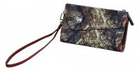 Women's Nylon Wristlet Wallet in Camo with Brown Accents 207535