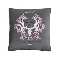 "Bone Collector Grey & Pink Square Pillow - 18"" W X 18"" L"