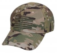 Adult Multicam Camouflage Ball Cap with Embroidered U.S. Flag