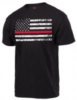 Adult Tee Shirt U.S. Flag with Thin Red Line