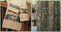 Realtree Timber Camo Pattern Shower Curtain & Towel Set