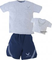 Kids US Air Force PT Shorts and Tee Shirt Set