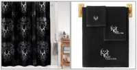 Bone Collector Black & White Shower Curtain & Towel Set