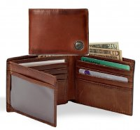 Caramel Brown Premium Leather Billfold Wallet with Trout Fish
