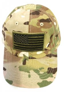 Kids Multicam Camouflage Ball Cap with Olive Drab American Flag