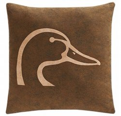 "Ducks Unlimited Brown with Tan Logo Square Pillow 20"" x 20"""