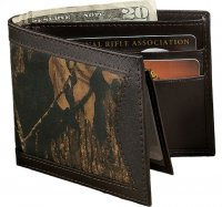 Mossy Oak Break Up Camo and Brown Leather Billfold Wallet 200441