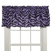 Black & Purple Zebra Print Window Valance
