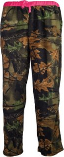 Womens Fleece Lounge Pajama Bottoms Camo with Neon Pink Accents
