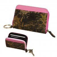 Women's Mini Zip Wallet Mossy Oak Breakup Camo Accented in Pink