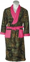 Womens Camo Fleece Robe with Neon Pink Accents