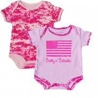 "Baby Girls Bodysuit Pink 2pk ""Pretty and Patriotic"""