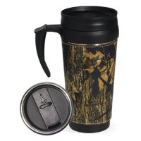 Weber's Mossy Oak Breakup Camo Leather Travel Mug with Handle