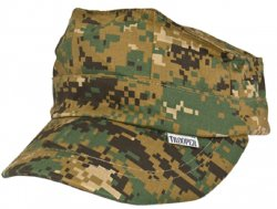 Kids Digital Woodland Camo USMC 8 Point Cap