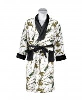 Mens Snow Forest Camo Fleece Robe with Black Accents 2231-13