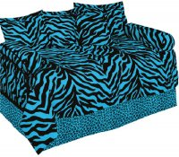 Black and Blue Zebra Stripe 5pc Twin Daybed Bedding Set